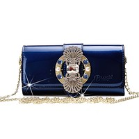 Queen's Crown Magnetic Clasp Womens Crossbody Wallet & Purse