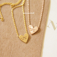 """Tiny """"Always Be Mine"""" Heart Necklace, Tiny Charm Necklace, GoldPlated Charm Necklace, GoldPlated Necklace, Hipster, Instagram, Holiday Gifts"""