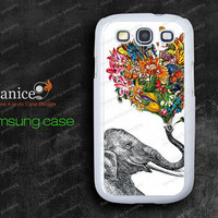Elephant and flower rubber silicon Samsung Galaxy S3 Cases, Samsung S3 cases,phone Cases for samsung  9300 cases, S0059