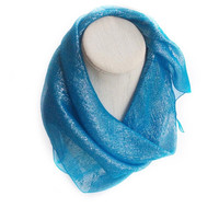 Turquoise Sparkly Scarf, Sky blue scarf Gift for Coworker Bridesmaid gift basket item, Neckerchief Bright Blue Iridescent Fabric head Scarf