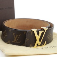 Louis Vuitton Monogram Initials LV Belt Size 80 M9608 Authentic #2184