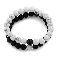 2Pcs New Fashion Natural White Pine Stone Black Volcano Couple Bracelets In Charm Beads Lovers Bracelets For Men and Women 8mm