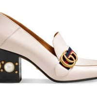 Gucci Leather mid-heel mule