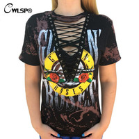 GUN N ROSES Print T Shirt Women American Rock Music Festival Hollow Out Tied up V Neck Tees Tops lace up  t-shirt