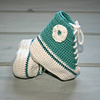 Bamboo| baby| crochet| converse| style| booties| 1m-3m+| high tops| shoes| boots| deep aqua white| etsy online