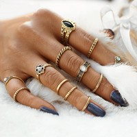 12PCS Vintage Women's Boho Crystal Flower Knuckle Rings