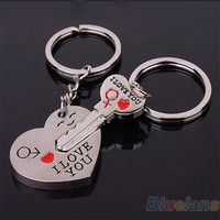 Couple Keychain Keyring Keyfob Valentine's Day 1 Pair Lover Gift Heart Key (With Thanksgiving&Christmas Gift Box)= 1645686020
