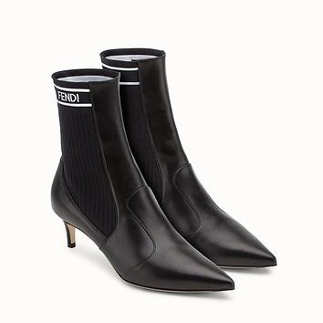 Fendi black leather and ankle boots-1
