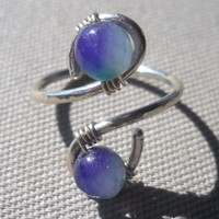 Faceted Kunzite Wrapped Hammered Silver Wire Ring