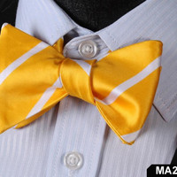 MA29 YELLOW,WHITE 100%Silk Striped Bow Ties Men SELF Tie Classic Wedding Butterf