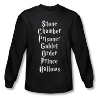Warner Bros. Men's Harry Potter Film Titles Long Sleeve T-Shirt Small Black