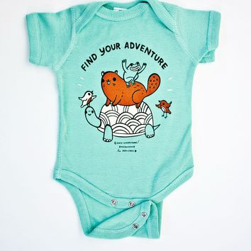 Find Your Adventure! Animal Baby Onesuit (Seafoam)