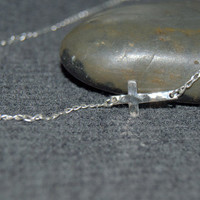 sterling silver horizontal cross necklace, tiny cross necklace, silver hammered cross necklace, catholic gift, christian jewelry