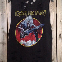 Iron Maiden cut and distressed tank top size medium