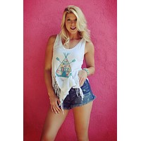 Teepee Wild and Free Fringe Tank by Original Cowgirl Clothing Company