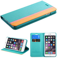 Book-Style Colorful Wallet iPhone 6 Plus Case - Blue/Pink/Yellow