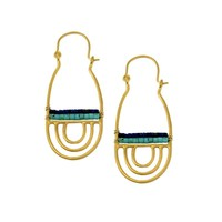 Turquoise And Lapis Mayan Earrings