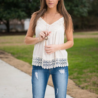 Crochet Farewell Tank, Cream