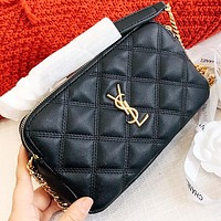 YSL New fashion leather shopping leisure shoulder bag crossbody bag Black