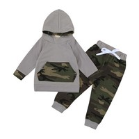 2pcs Toddler Baby Boy Girl Clothes Set Camouflage