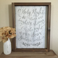 """Distressed Christmas Wood Sign - """"O Holy Night"""" - Rustic Decor"""