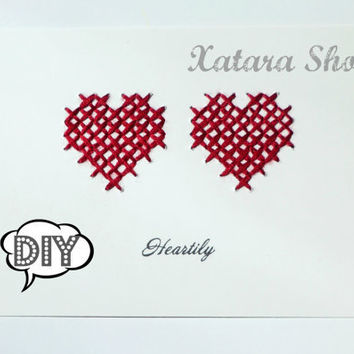 DIY Cross stitch card Hearts wall art with personalized by Xatara