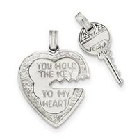 Heart and Key Charm in Sterling Silver