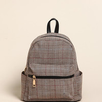 Brown Plaid Leatherette Mini Backpack