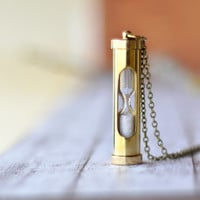 Vintage Style Sand Timer Hour Glass Pendant - Nautical Shiny Brass Sand Timer Necklace