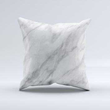 White Marble Surface ink-Fuzed Decorative Throw Pillow