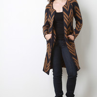 Longline Chevron Knitted Cardigan