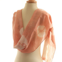 Coral pink scarf, naturally dyed scarf, long silk shawl, madder dyed warm dusky pink, eco dyed silk habotai tie dyed shibori, christmas gift