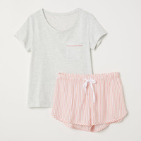 Pajama Top and Shorts - Lt. gray melange/pink striped - Ladies | H&M US