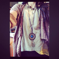 Dream Catcher Necklace with Blue Dichroic Glass // Hippie Boho Gypsy Jewelry