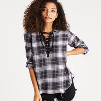 AEO Lace-Up Flannel Pullover Shirt, Gray