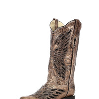 Corral Women's Bronze/Black Sequins & Crystal Butterfly Square Toe Boot - R1226