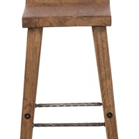 Classic Home Arturo Low Back Reclaimed Elm Wood Counter Stool | Nordstrom