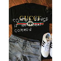 GUCCI street fashion men and women models graffiti letters loose wild half sleeve t-shirt Black