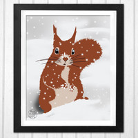 Nursery red squirrel winter snow snowflake cute home decor print  INSTANT DOWNLOAD