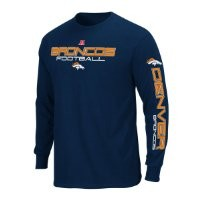 NFL Denver Broncos Primary Receiver III Long Sleeve T-Shirt, Athletic Navy, Small