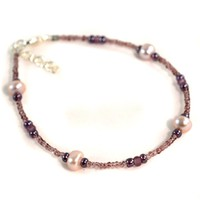 Beaded Purple Anklet