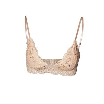 Semi-Sheer Full Lace Adjustable Strap Wire Free Bralette with Hook Clasp