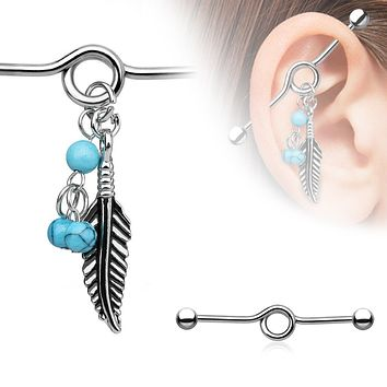 316L Surgical Steel Industrial WildKlass BarbellTurquoise Beads and Tribal Feather Dangle (Sold by Piece)