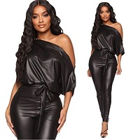 2020 autumn new strapless strapless sexy PU jumpsuit