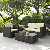 3-Piece Outdoor Patio Furniture Set with Chair Loveseat and Cocktail Table