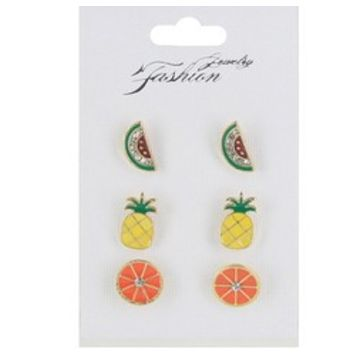 Crystal Accent Fruit Earrings-Set of 3