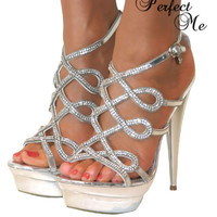 LADIES SILVER DIAMANTE GLITTER ANKLE STRAPPY SANDALS SHOES HIGH STILETTO HEELS