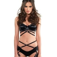 STRAPPY SATIN BRA SET WITH GARTERS