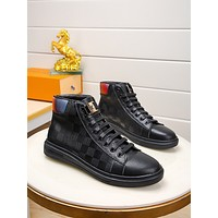 lv louis vuitton trending womens men leather side zip lace up ankle boots shoes high boots 121