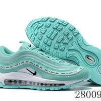 HCXX 19July 997 Nike Air Max 97 Have A Nike Day 923288-300 Flyknit Breathable Running Shoes Mint Greeen